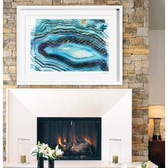 Oliver Gal Canyon Gallery Sea of Turquoise Framed Painting Print