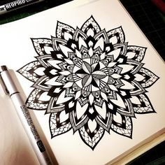 Mandala by pavana arts mandalas, doodles, zentangles etc. Mandalas Painting, Mandalas Drawing, Mandala Art, Doodle Drawings, Doodle Art, Zentangle Patterns, Doodles Zentangles, Pencil Crafts, Design Tattoo
