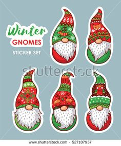 Trolls gnomes with white beards and long red and green hats. Stickers collection. Funny characters for Christmas. Vector set