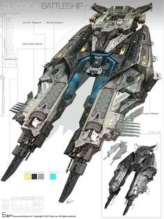 spaceshipsgalore: evan-lee-battleship-1.jpg (14982000)...
