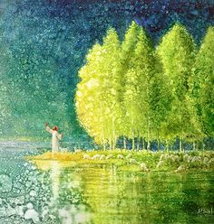 Jesus at the edge of the water by sweet green trees. Yongsung Kim prophetic art painting.