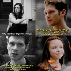 """#TheOriginals 1x08 4x03 - """"Nothing is going to harm my little girl. Nothing will even get close. You're all that matters to me."""" - #KlausMikaelson #HayleyMikaelson #HopeMikaelson"""