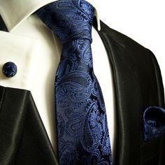 Black & Blue Paisley Tie Set