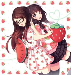 Image result for 2 anime girls with strawberries