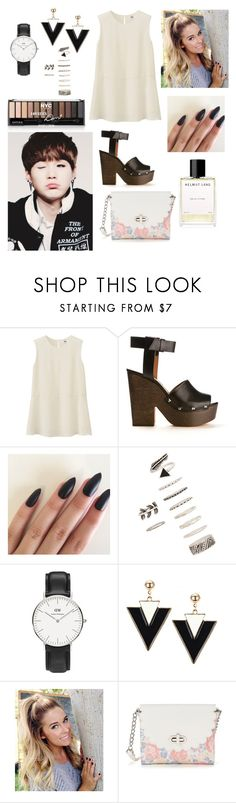 """""""Dressy casual look for Suga"""" by bts-outfit-imagines ❤ liked on Polyvore featuring Uniqlo, Givenchy, Forever 21, Daniel Wellington, Candie's and Helmut Lang"""