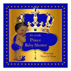 Royal Prince Baby Shower Blue Boy Crown Ethnic Invitation