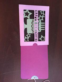 Magic slider birthday card cut with silhouette cameo purple black Aqua