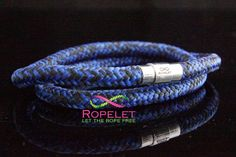 A lovely blue and black Ropelet shown as a double wrap. one of the handmade rope bracelets by www.ropelet.co.uk #ropelet #ropebracelet #climbingropebracelet #surferbracelet #bracelet