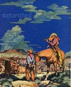Cowboy Print Vintage - Under the Western Stars 1936 - Beautiful Children's Antique Cowboy Illustration - Texas Kansas Trail. $19.99, via Etsy.