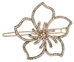 L. Erickson Crystal Hawaiian Flower Tige Boule Barrette - Light Gold Crystal.