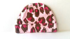 New Laughing Giraffe Hot Pink Brown Leopard Print Baby Girl Crib Hat Cap Size 1 #HauteBaby
