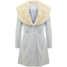 Miss Selfridge Petites Baby Blue Flare Coat (265 PLN) ❤ liked on Polyvore featuring outerwear, coats, pale blue, petite, baby blue coat, flare coat, faux fur trim coat, miss selfridge coats and miss selfridge