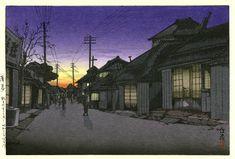 Twilight at Imamiya Street, Choshi  by Ishiwata Koitsu, 1931  (published by Watanabe Shozaburo)