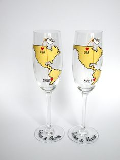 Wedding Toasting Flutes Set of 2 Personalized by pastinshs on Etsy