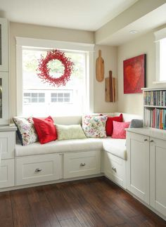 Kitchen decorating ideas. How to disguise your bulk head above upper cabinets. Decorating with red.