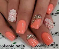 Orange coral with 3-D flowers and bling