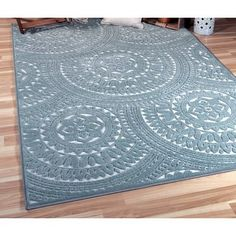 Bungalow Rose Senoia Blue Indoor/Outdoor Area Rug Rug Size: Rectangle x Indoor Outdoor Area Rugs, Outdoor Areas, Floor Decor, Outdoor Settings, Mold And Mildew, Fashion Room, Color Pallets, Blue Area Rugs, Rug Size