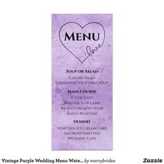 Shop Vintage Purple Wedding Menu Watercolor Grunge created by merrybrides. Vintage Purple Wedding, Purple Wedding Cakes, White Cake With Strawberries Recipe, Pie Wedding Cake, Grunge, Wedding Menu Cards, Wedding Catering, Catering Menu, Wedding Cake Decorations