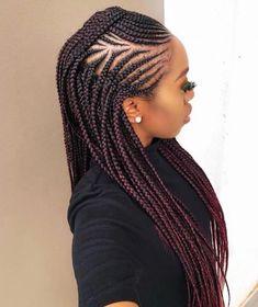 85 Box Braids Hairstyles for Black Women - Hairstyles Trends Black Girl Braids, Braids For Black Hair, Girls Braids, Braided Hairstyles For Black Women, African Braids Hairstyles, Girl Hairstyles, Popular Hairstyles, Braided Mohawk Hairstyles, French Hairstyles
