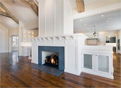 Killer fireplace central to this open concept