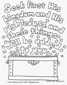 Matthew 6:33 printable coloring page | Scripture doodles where you have to colour in the actual words and letters of a Bible verse are a great way to teach our kids how to memorise Scripture | http://coloringpagesbymradron.blogspot.com.au/