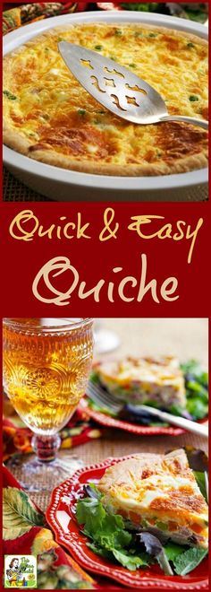 This Quick & Easy Quiche recipe can be made with leftovers or for parties. Click to get this easy dinner, brunch, breakfast or brinner recipe. Can be made vegetarian or gluten free. #BrightBites #ad