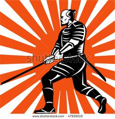 vector illustration of samurai warrior with sword in fighting stance facing side with sunburst in background #samurai #retro #illustration