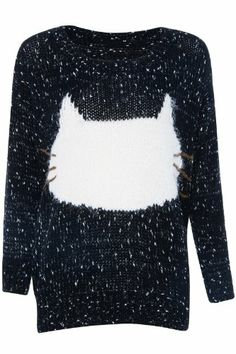 Shop White Cat Print Dual-tone Knitted Jumper at ROMWE, discover more fashion styles online. Cotton Jumper, Latest Street Fashion, Looks Cool, Black Knit, Crazy Cat Lady, Everyday Fashion, Cat Stuff, My Style, Cats