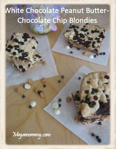 White Chocolate Peanut Butter-Chocolate Chip Blondies