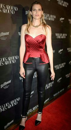 Sara Foster attends What Goes Around Comes Around in black leather pants and ankle strap heels on the red carpet Black Leather Pants, Real Leather, Sara Foster, Ankle Strap Heels, Leather Fashion, The Fosters, Leggings, Chic, Celebrities
