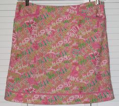 Lilly Pulitzer Originals Skirt Size 8 Letters Pink Green Linen Look #LillyPulitzer #ALine