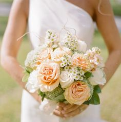bridal bouquet  peach neutral green