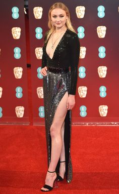 Sophie Turner in a sequin Louis Vuitton dress - click ahead for more best dressed at the 2017 BAFTA awards