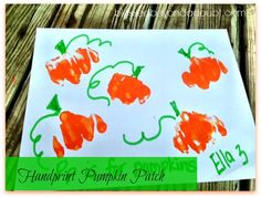 Have your child make a hand print pumpkin patch Thanksgiving Crafts For Kids, Halloween Crafts For Kids, Fall Crafts, Preschool Halloween, Fall Preschool, Preschool Classroom, Halloween Art, Classroom Ideas, Preschool Art Projects