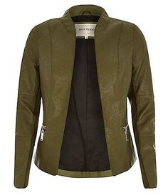 River Island Khaki Leather - look fitted jacket