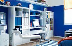 99 Modern Room Designs Ideas For Guys - Ikea Ideas Decoration Modern Room Design, Study Room Design, Study Space, Ikea Boys Bedroom, Bedroom Ideas, Room Boys, Bedroom Makeovers, Blue Bedroom, Bedroom Wall