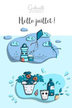 #gribouillistreet #calendrier #doodle #juillet Illustrations, Doodle Art, Peanuts Comics, Doodles, Family Guy, Fictional Characters, Air, Planners, Doodle