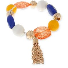Erica Lyons Multi Gold-Toned Hello Sailor Chunky Bead Stretch Bracelet (€15) ❤ liked on Polyvore featuring jewelry, bracelets, multi, chunky jewelry, beading jewelry, erica lyons jewelry, bead jewellery and erica lyons