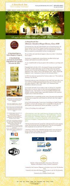 Giudizio degli ospiti consultabili facilmente, grazie ad un apposito link nel menu principale dell'Home Page. Inoltre, sono presenti due link per visionare le recensioni sugli appositi siti. Link: http://www.storybook-inn.com/guest-feedback.htm