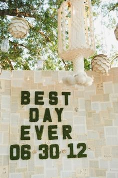 "Nat - I don't like the phrase ""Best day ever"" but making a backdrop of book pages for pictures would be just darling. What do you think?"