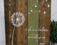 Dandelion Wall Decal Quote Life Is A Balance Holding by HomyVinyl