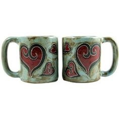 Hearts Coffee Mug - Southwest Indian Foundation - 8482 - 9107 - 9108 Coffee Heart, My Coffee, Coffee Cups, Hand Engraving, Mugs Set, Hot Chocolate, Stoneware, Pottery, Hand Painted