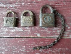 Vintage brass padlock collection Yale Yale Towne by BandCEmporium