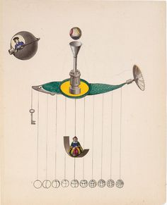Joseph Cornell (American, 1903-1972). Untitled (Flying Machines), ca. 1938. Collage with ink on paper. Sheet 10 3/4 x 9 in. (27.3 x 22.9 cm). Smithsonian American Art Museum. Image © Smithsonian Institution. Photo: Gene Young.  © The Joseph and Robert Cornell Memorial Foundation / Licensed by VAGA, New York