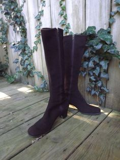 Pristine Womens Sexy Suede Sax Fifth Avenue Vintage 1970s Boots Chocolate Brown Vintage by ForsythiaHill