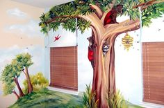 Forest mural i would like to have in my kid's room.all i need is an artist who's in my price range Mural Wall Art, Mural Painting, Church Nursery, Nursery Room, Woodland Bedroom, Forest Bedroom, Baby Crib Diy, Fairy Bedroom, Forest Mural