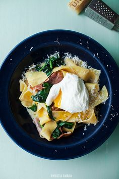 Pappardelle with Spinach, Prosciutto and Poached Egg