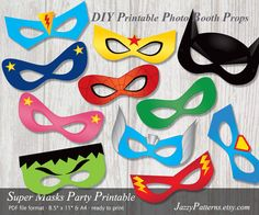 DIY Superhero Party Masks printable photo booth props in comic book style PP001 instant download PDF pattern by JazzyPatterns on Etsy https://www.etsy.com/listing/195358542/diy-superhero-party-masks-printable