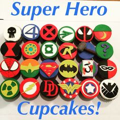 Superhero cupcakes! They are a dark chocolate cake with mini semi-sweet chocolate chips and a hot fudge sauce center with a cream cheese frosting with mini chocolate chips!    #superhero #marvel #dccomics #cupcakes #baking #deaselicious #punisher #fantasticfour #xmen #greenarrow #deadpool #aquaman #blackwidow #ironman #greenlantern #robin #thor #riddler #spiderman #drmidnight #superman #batman #joker #harleyquinn #hulk #flash #daredevil #wonderwoman #captainamerica #agentsofshield #fondant