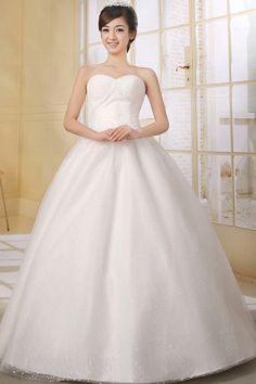 White Tulle Sweetheart Bridal Gown - Order Link: http://www.theweddingdresses.com/white-tulle-sweetheart-bridal-gown-twdn0395.html - Embellishments: Applique , Beading , Crystal , Sequin; Length: Floor Length; Fabric: Tulle; Waist: Natural - Price: 141.61USD
